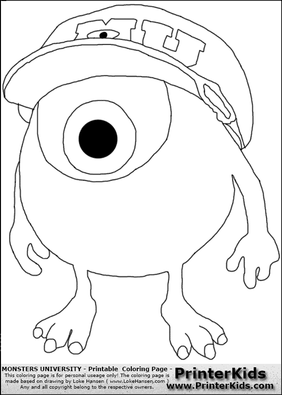 Monsters university squishy coloring pages